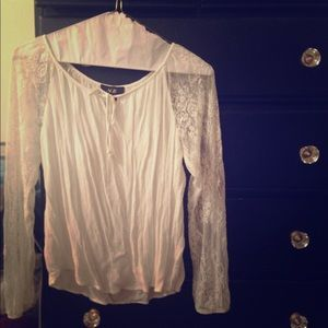 White Lacy Peasant Top